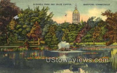 Bushnell Park & State Capitol - Hartford, Connecticut CT Postcard