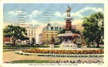 Corning Fountain, Bushnell Park - Hartford, Connecticut CT Postcard