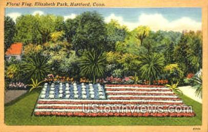 Floral Flag, Elizabeth Park - Hartford, Connecticut CT Postcard