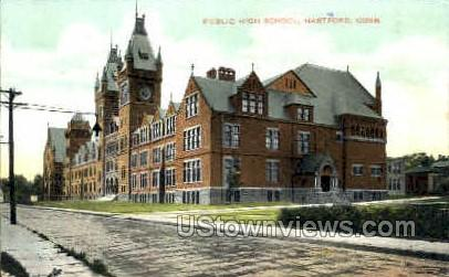 Public High School - Hartford, Connecticut CT Postcard