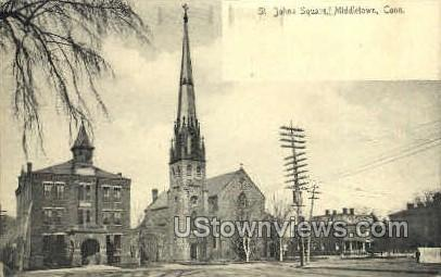 St. Johns Square - Middletown, Connecticut CT Postcard