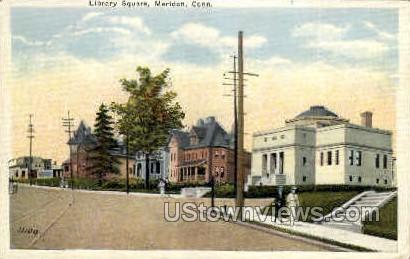 Library Square - Meriden, Connecticut CT Postcard