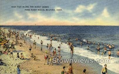 Pond Point Beach - Milford, Connecticut CT Postcard