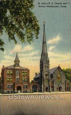 St. John's R. C. Church - Middletown, Connecticut CT Postcard