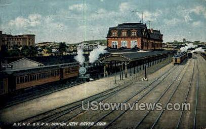 N. Y. N. H. & H. Ry. Station - New Haven, Connecticut CT Postcard