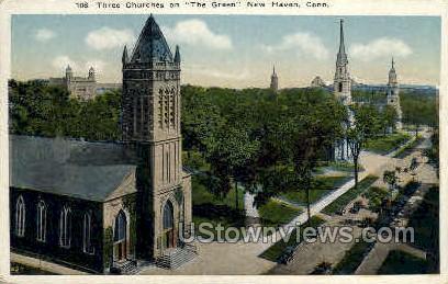 Three churches - New Haven, Connecticut CT Postcard