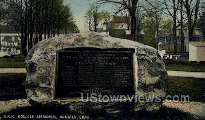 D. A. R. Boulder Memorial - Winsted, Connecticut CT Postcard