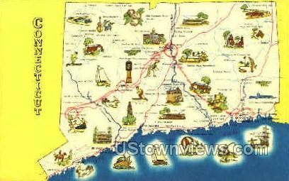 Map - Misc, Connecticut CT Postcard