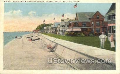 Beach - Milford, Connecticut CT Postcard