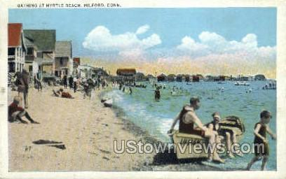 Bathing - Milford, Connecticut CT Postcard