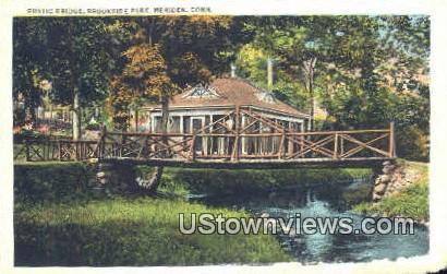 Rustic Bridge, Brookside Park - Meriden, Connecticut CT Postcard