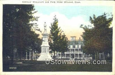 Soldiers' Monument & Park Hotel - Winsted, Connecticut CT Postcard