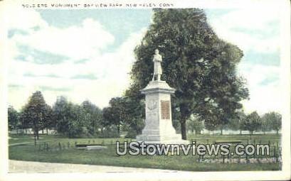 Soldiers Monument, Bay View Park - New Haven, Connecticut CT Postcard