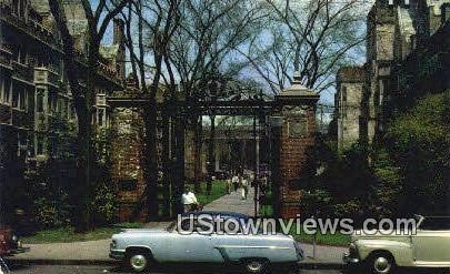Noah Porter Gate & Walk, Yale Unviersity - New Haven, Connecticut CT Postcard