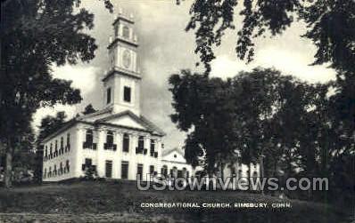 Congregational Church - Simsbury, Connecticut CT Postcard