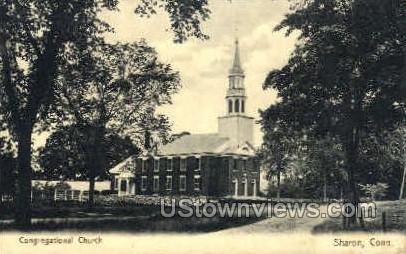 Congregational Church - Sharon, Connecticut CT Postcard