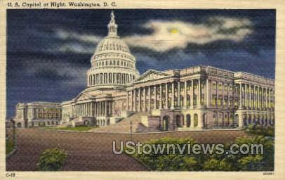 U.S. Capitol at Night - District Of Columbia Postcards, District of Columbia DC Postcard