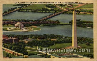 Washington Monument, Jefferson Memorial - District Of Columbia Postcards, District of Columbia DC Postcard