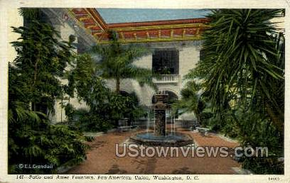 Patio and Aztec Fountain - District Of Columbia Postcards, District of Columbia DC Postcard