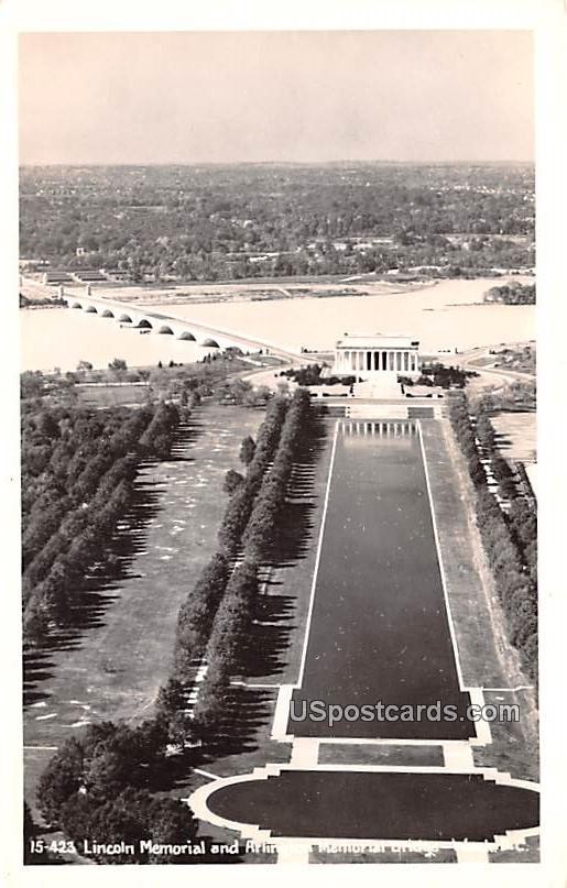 Lincoln Memorial and Ailinton Memorial Bridge - Washington, District of Columbia DC Postcard