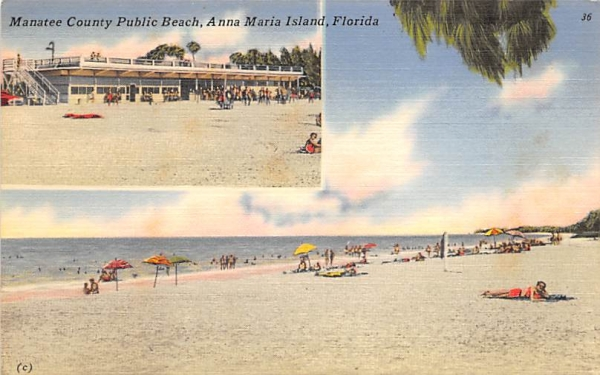 Manatee County Public Beach Anna Maria Island, Florida Postcard