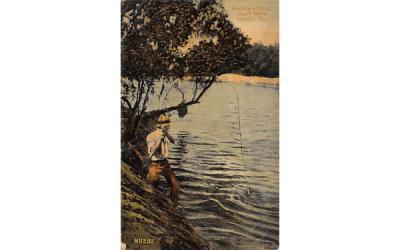 Landing a Trout, Peace River Arcadia, Florida Postcard