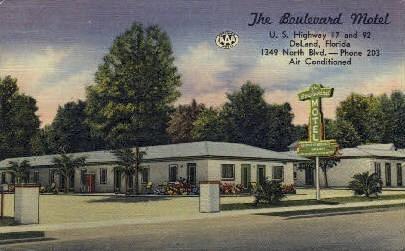 Boulevard Motel - De Land, Florida FL Postcard