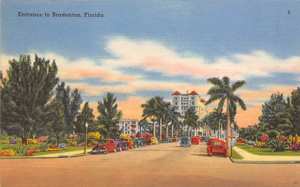 Entrance to Bradenton Florida Postcard
