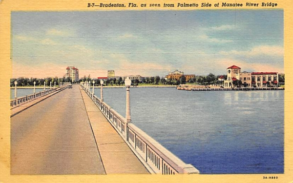 Bradenton, FL, USA, Manatee River Bridge Florida Postcard