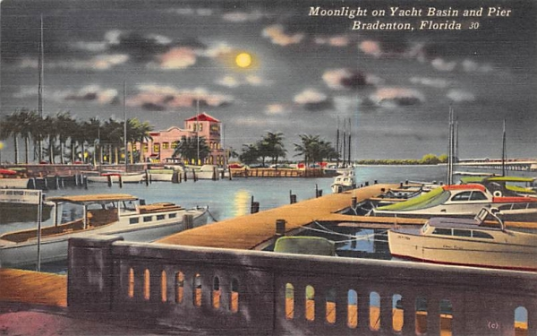 Moonlight on Yacht Basin and Pier Bradenton, Florida Postcard