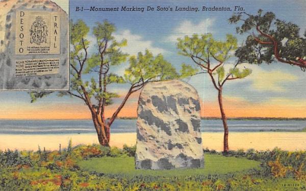 Monument Marking De Soto's Landing Bradenton, Florida Postcard