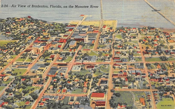 Air View of Bradenton, FL, USA, on the Manatee River Florida Postcard