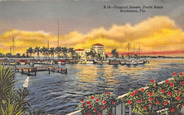 Tropical Sunset, Yacht Basin Bradenton, Florida Postcard