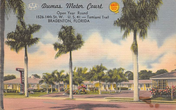 Dumas Motor Court Bradenton, Florida Postcard