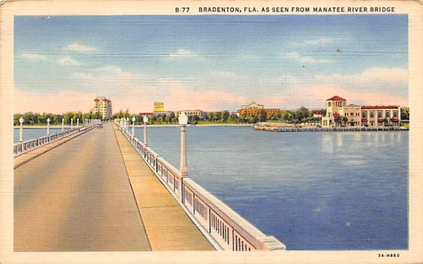 Bradenton FL, USA, Manatee River Bridge Florida Postcard