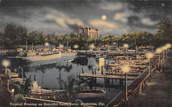 Tropical Evening on Beautiful Yacht Basin Bradenton, Florida Postcard
