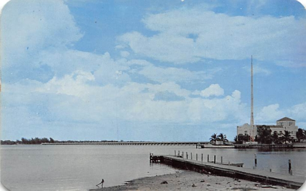 Municipal Pier Building and the Green Bridge Bradenton, Florida Postcard