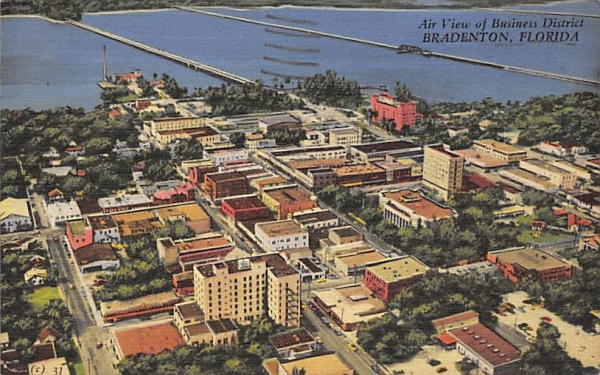 Air View of Business District Bradenton, Florida Postcard