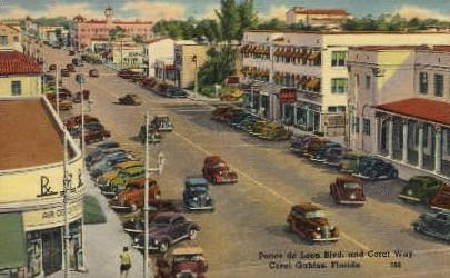 Ponce de Leon Boulevard - Coral Gables, Florida FL Postcard