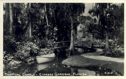 Tropical Canals - Cypress Gardens, Florida FL Postcard
