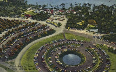 Parking Area - Cypress Gardens, Florida FL Postcard