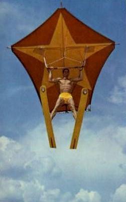 Human Kite - Cypress Gardens, Florida FL Postcard