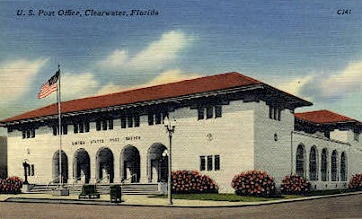 Post Office - Clearwater, Florida FL Postcard