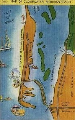 Map - Clearwater, Florida FL Postcard