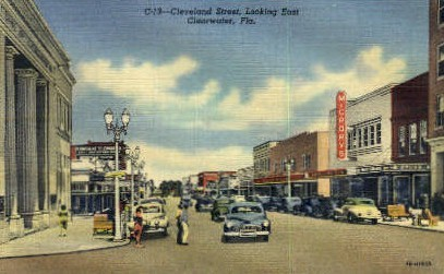 Cleveland Street - Clearwater, Florida FL Postcard