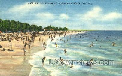 Winter Bathing - Clearwater, Florida FL Postcard