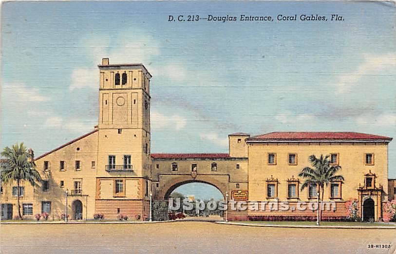 Douglas Entrance - Coral Gables, Florida FL Postcard