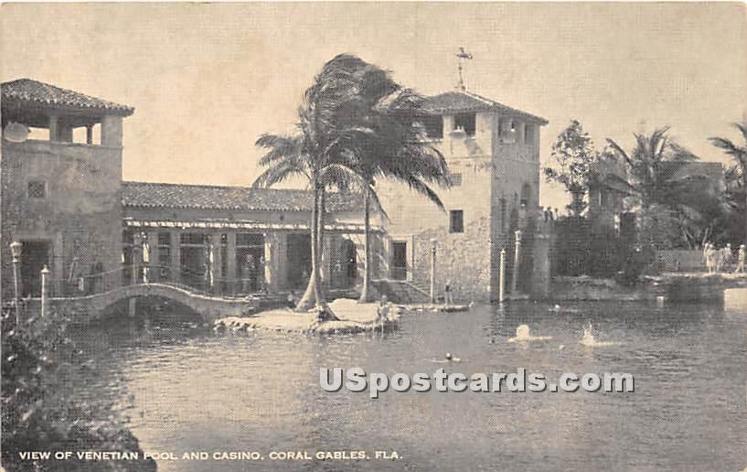 Venetian Pool & Casino - Coral Gables, Florida FL Postcard