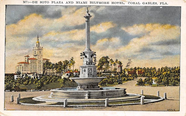 De Soto Plaza and Miami Biltmore Hotel Coral Gables, Florida Postcard