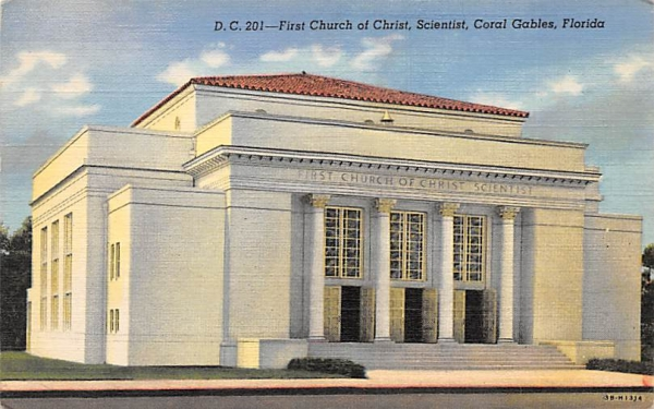 First Church of Christ, Scientist Coral Gables, Florida Postcard